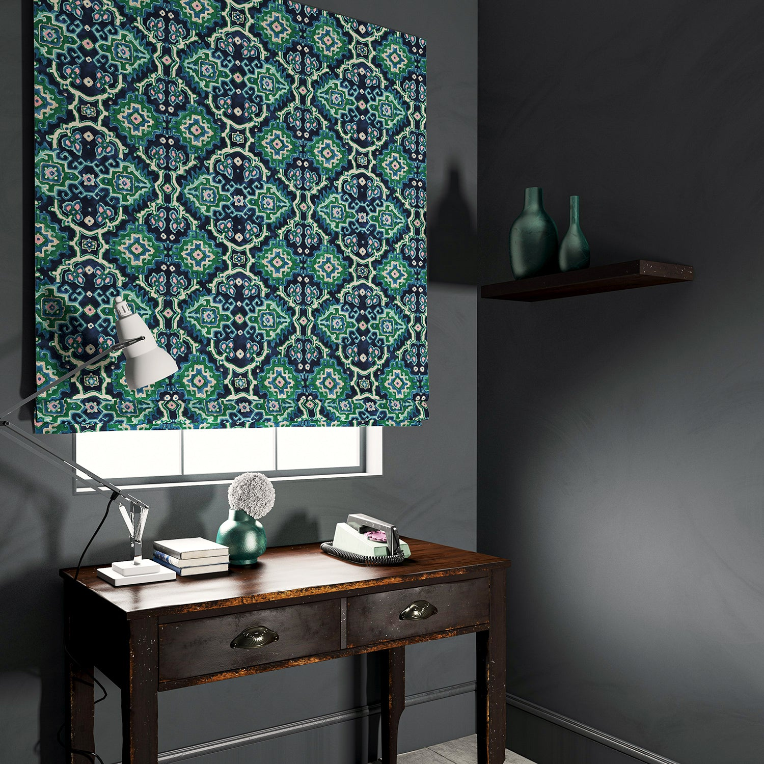 Velvet blind upholstered in a printed velvet fabric with an oriental geometric design in blue and green colours