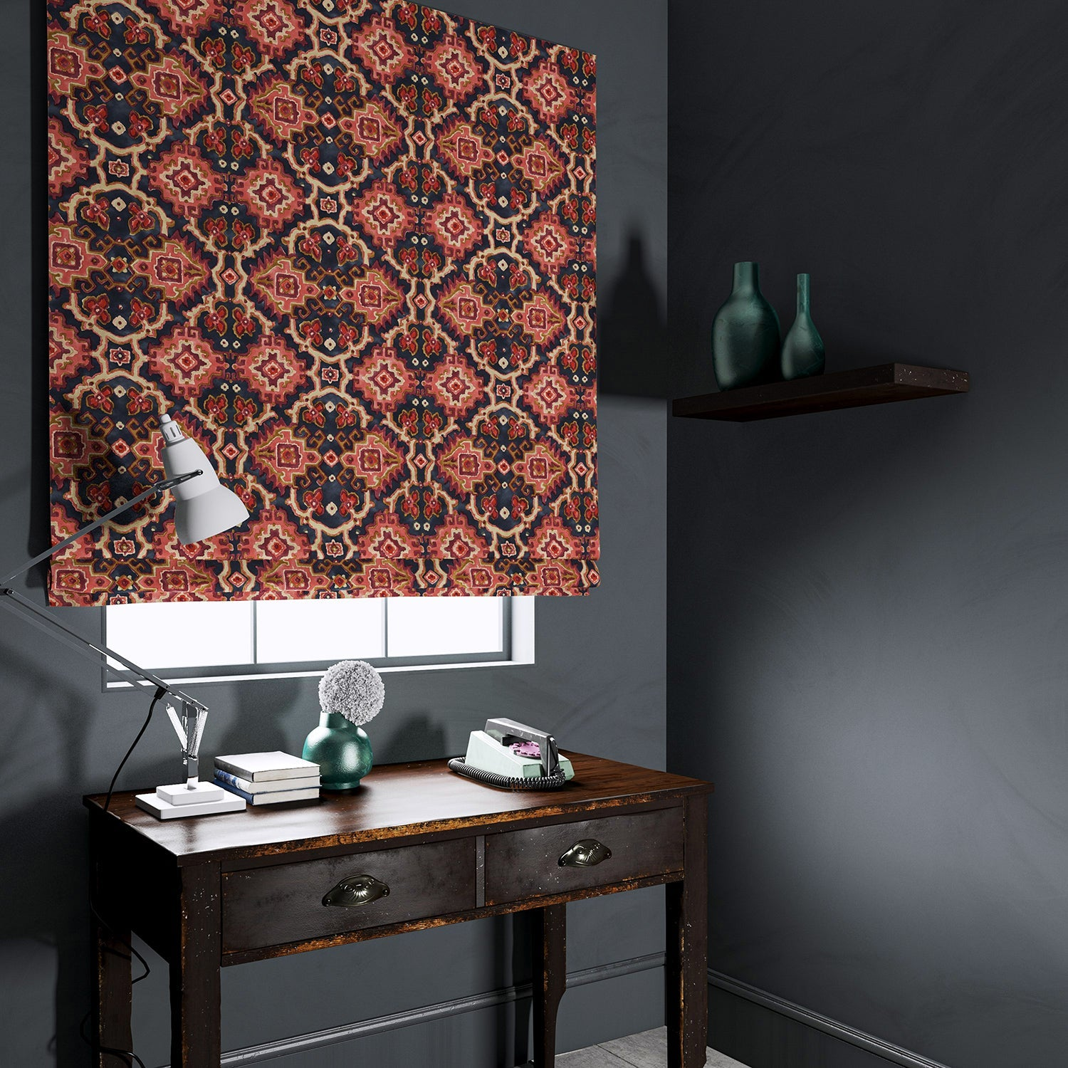 Velvet blind upholstered in a printed velvet fabric with an oriental geometric design in red colours