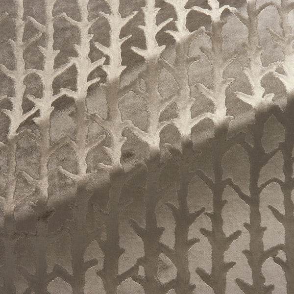Fabric swatch of a bronze velvet fabric with abstract branch design, suitable for curtains and upholstery