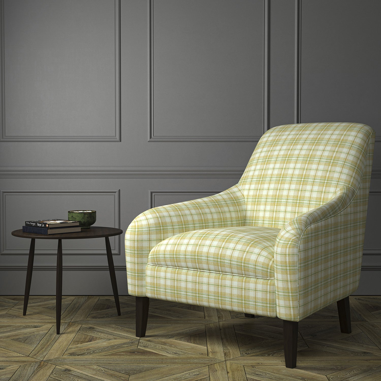 Chair upholstered in a luxury Scottish cream wool tartan upholstery fabric