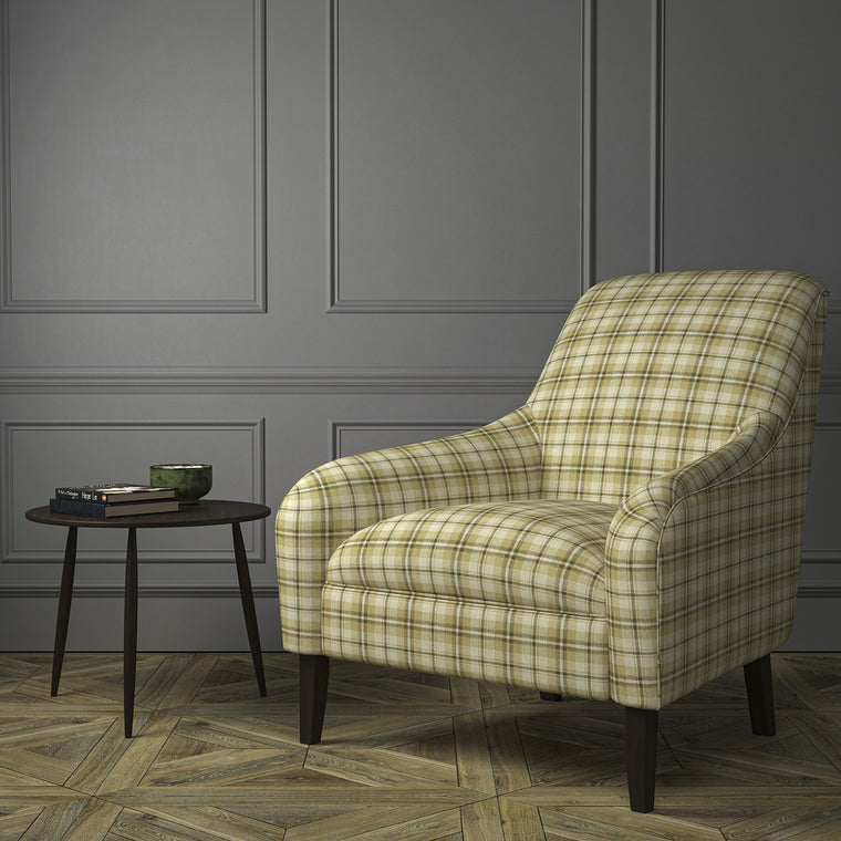 Chair upholstered in a luxury Scottish cream and neutral wool tartan upholstery fabric