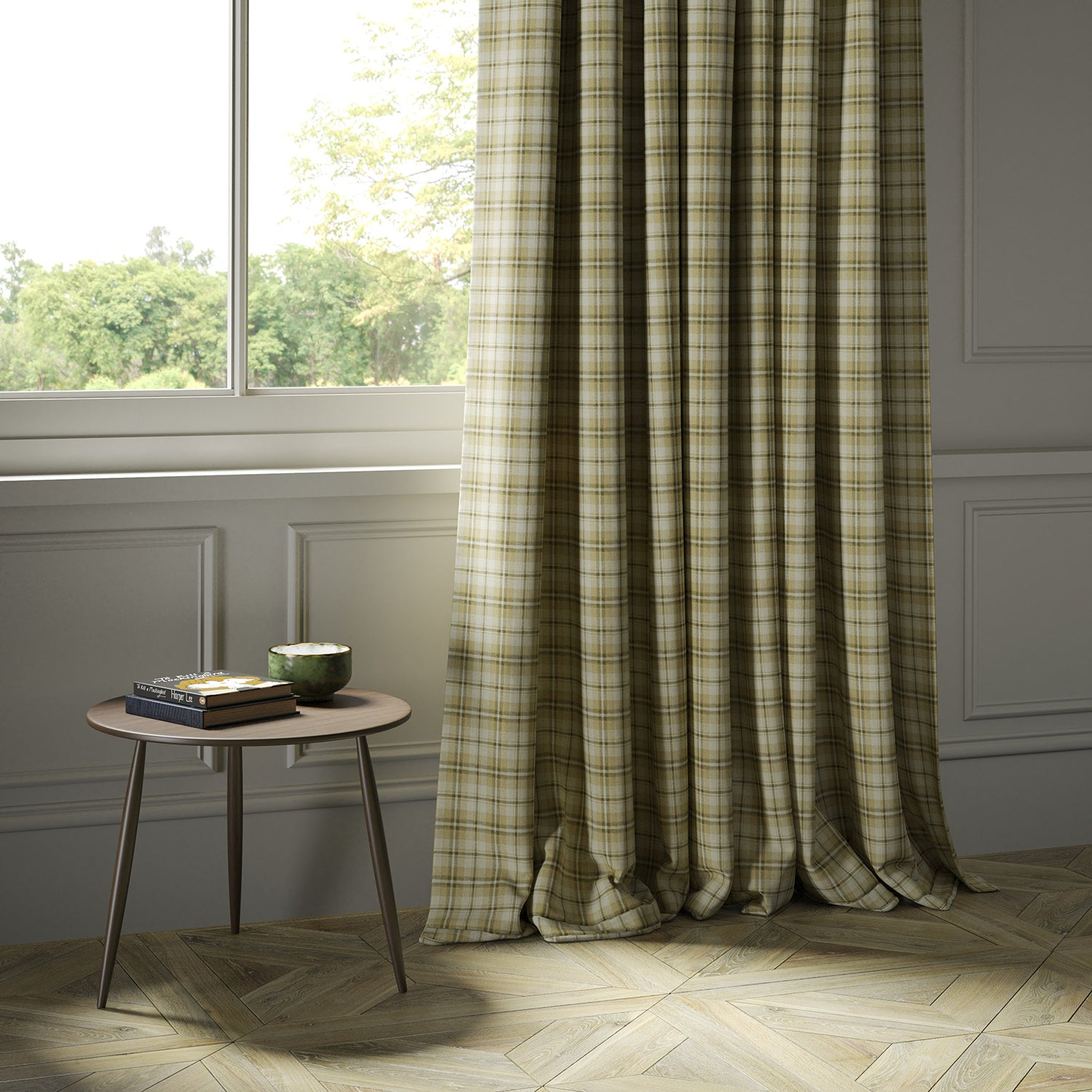Curtains in a luxury Scottish cream and neutral wool tartan fabric