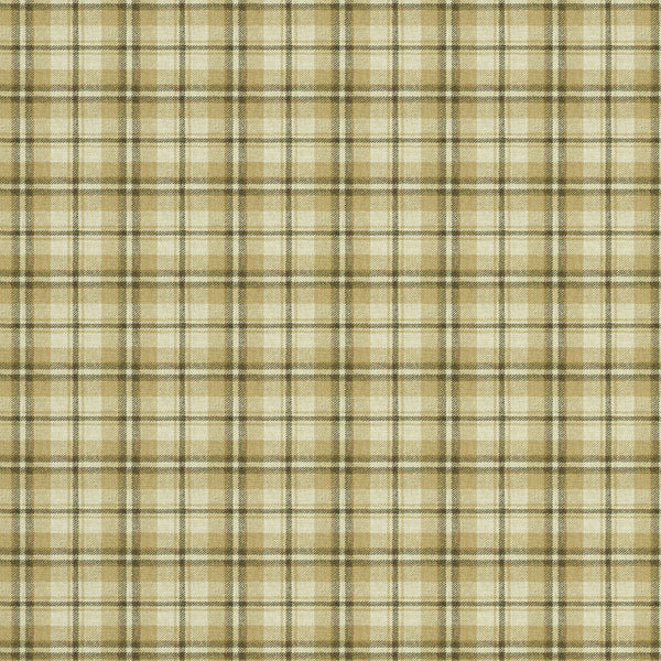 Fabric swatch of a luxury Scottish cream and neutral wool tartan fabric suitable for curtains and upholstery