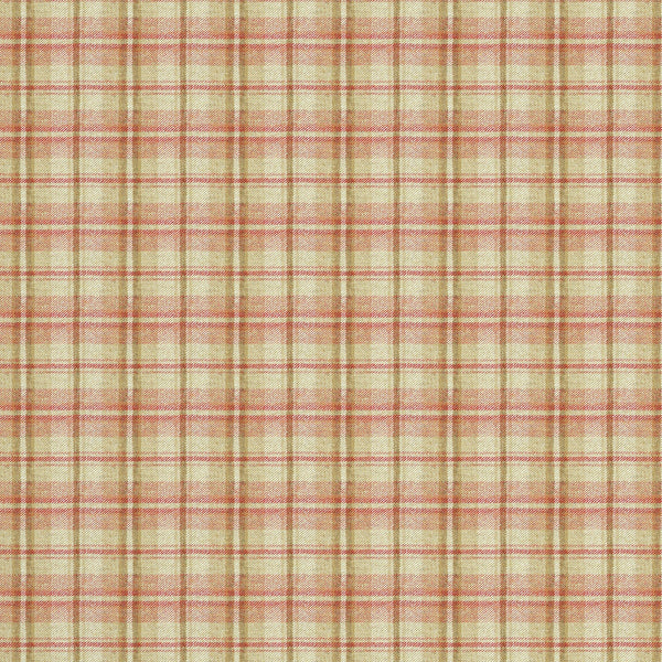 Fabric swatch of a luxury Scottish red and cream wool tartan fabric suitable for curtains and upholstery