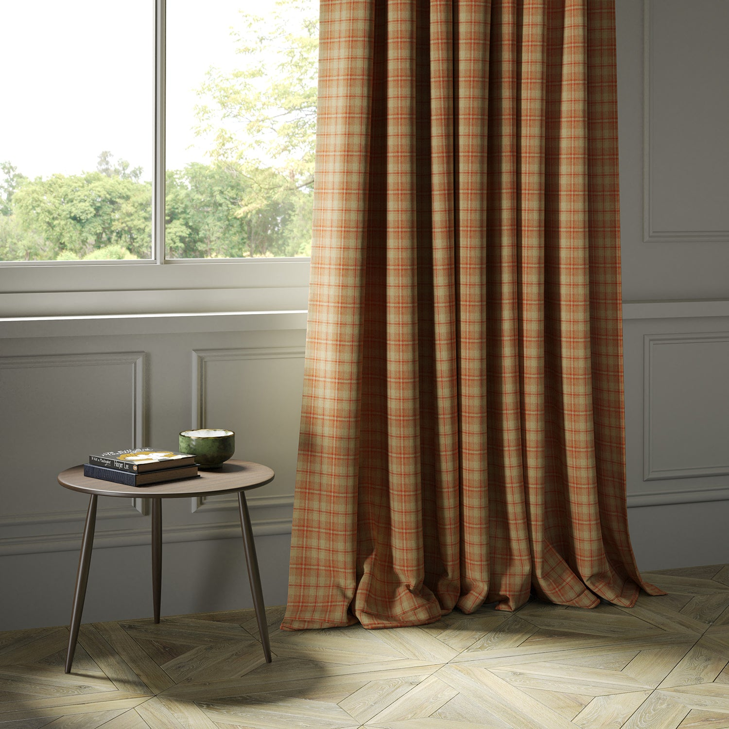 Curtains in a luxury Scottish red and neutral wool tartan fabric