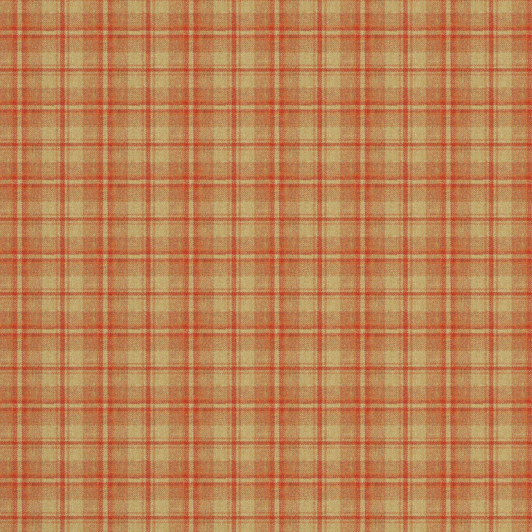 Fabric swatch of a luxury Scottish red and neutral wool tartan fabric suitable for curtains and upholstery