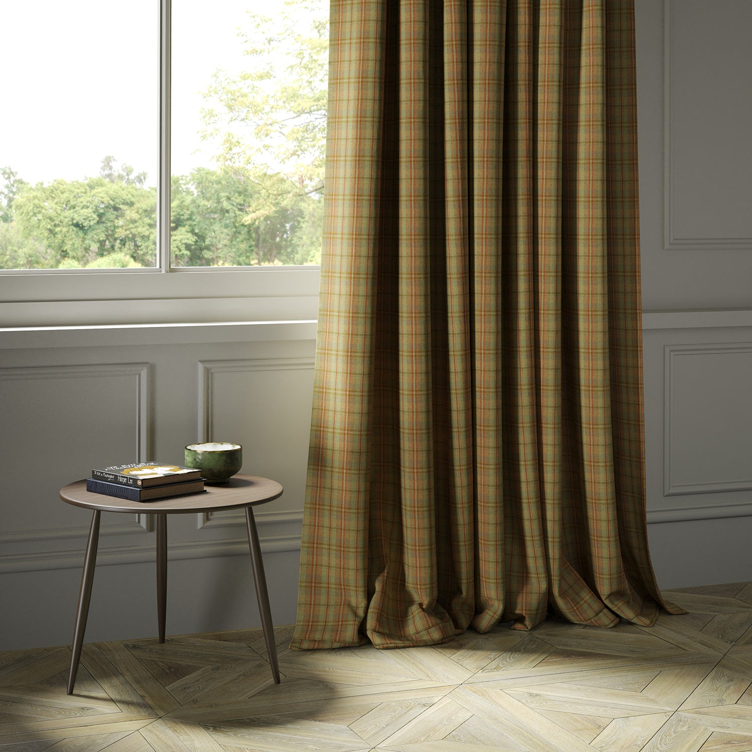 Curtains in a luxury Scottish rust-toned wool tartan fabric