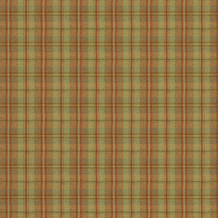 Fabric swatch of a luxury Scottish rust-toned wool tartan fabric suitable for curtains and upholstery