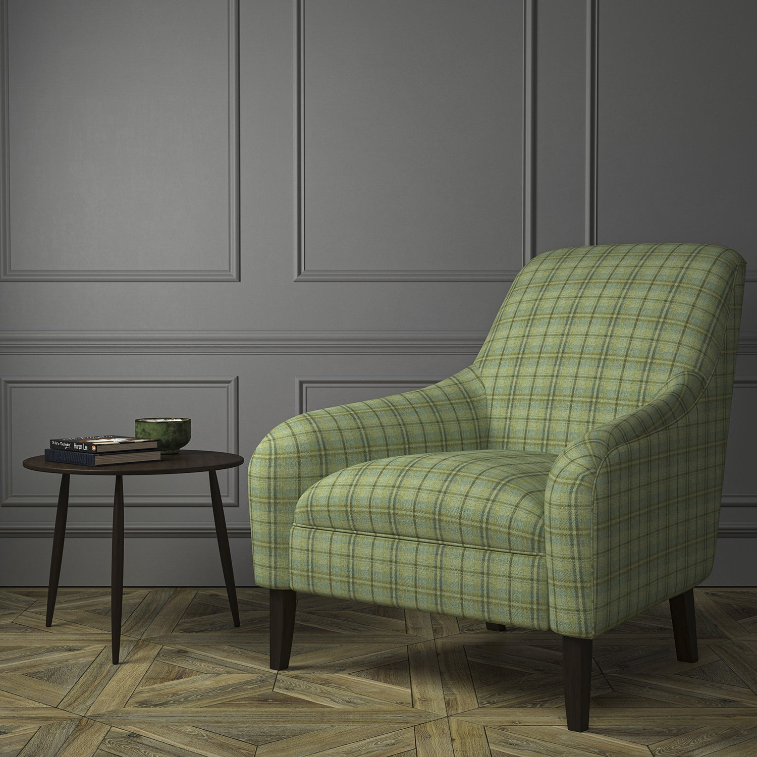 Chair upholstered in a luxury Scottish green wool tartan upholstery fabric