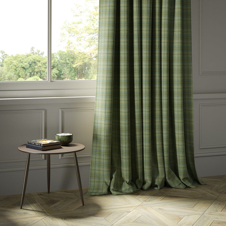 Curtains in a luxury Scottish green wool tartan fabric