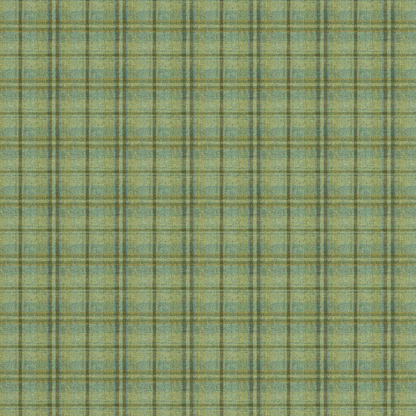 Fabric swatch of a luxury Scottish green wool tartan fabric suitable for curtains and upholstery