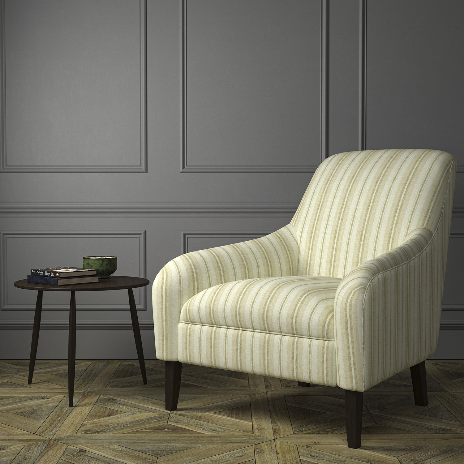 Chair upholstered in a luxury Scottish cute wool striped upholstery fabric