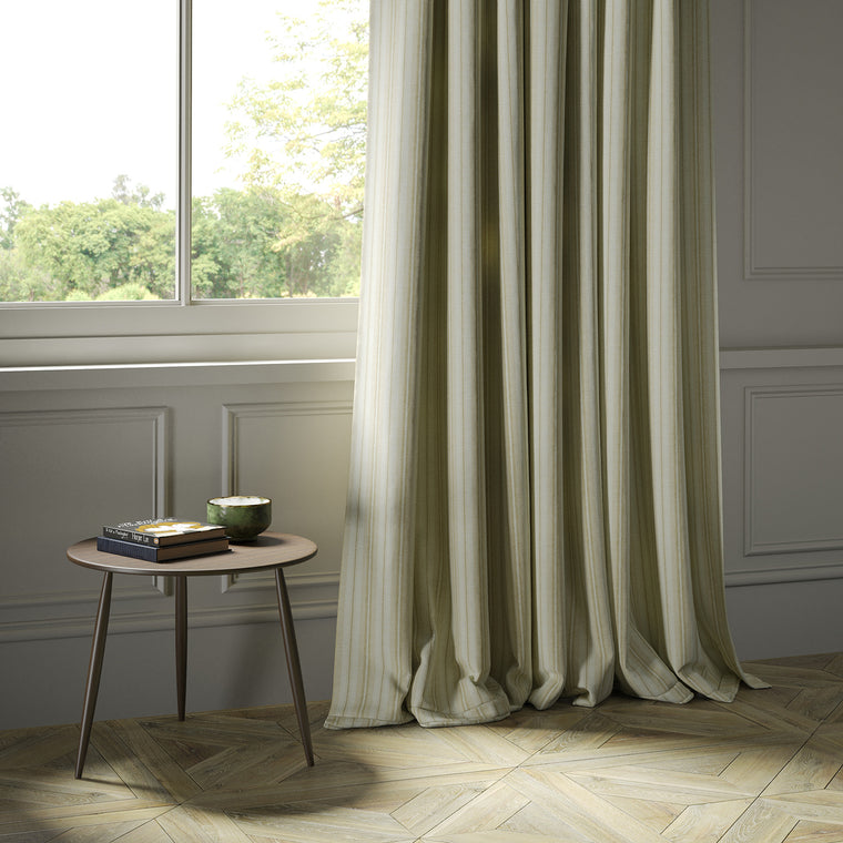 Curtains in a luxury Scottish cream wool striped fabric