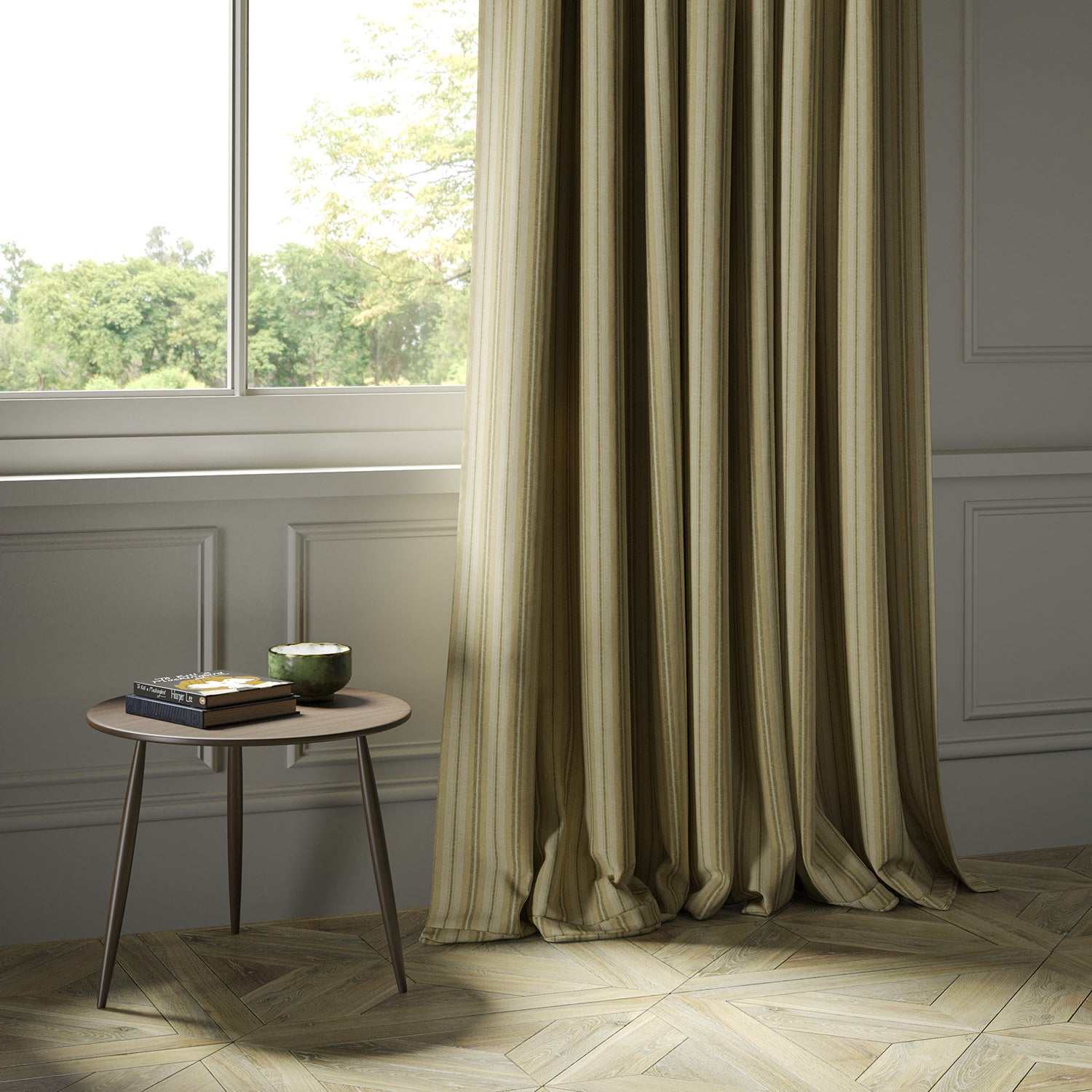 Curtains in a luxury Scottish cream and beige wool striped fabric