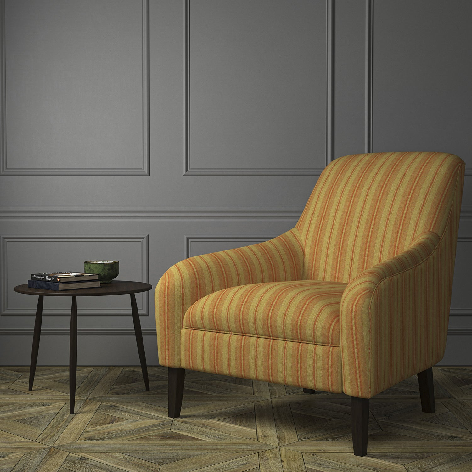 Chair upholstered in a luxury Scottish orange and dark neutral wool striped upholstery fabric