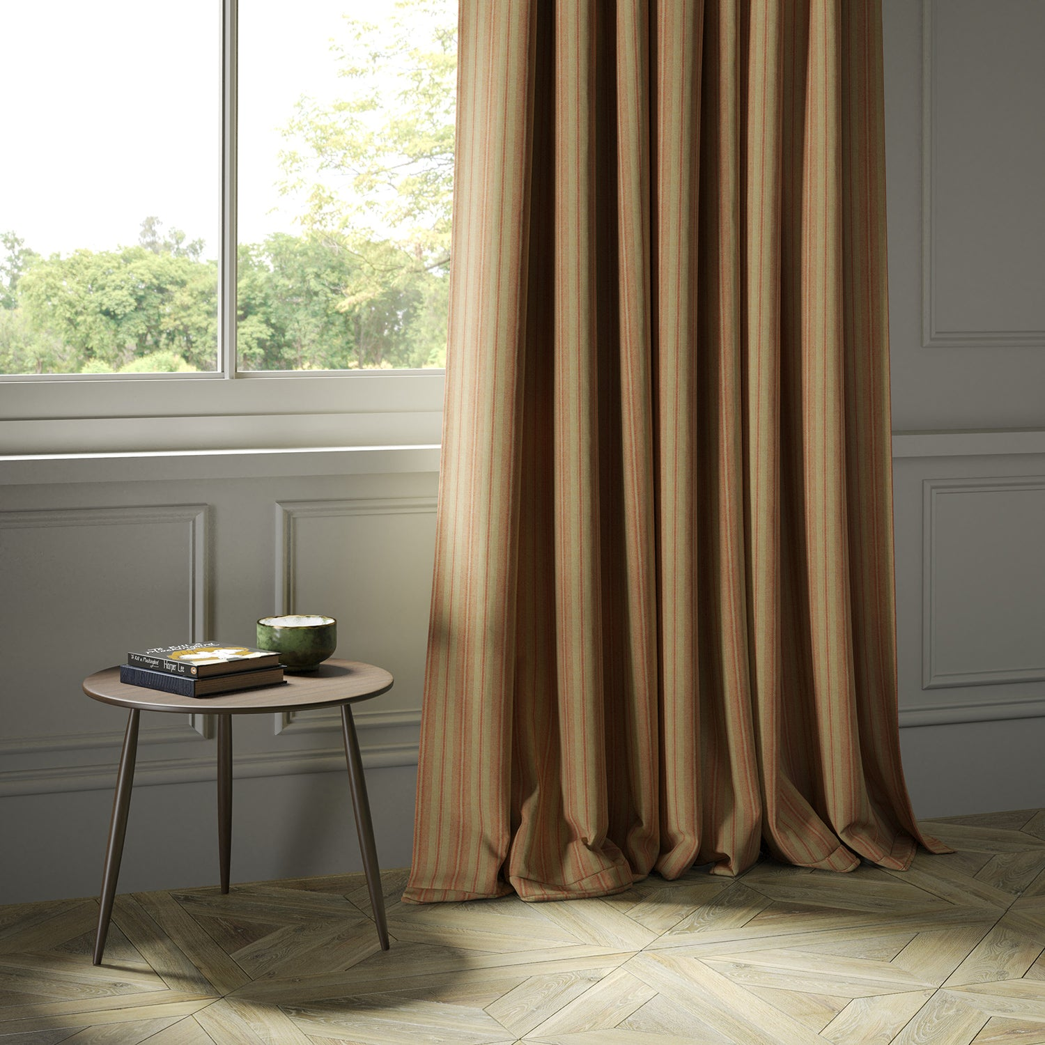 Curtains in a luxury Scottish orange and neutral wool striped fabric