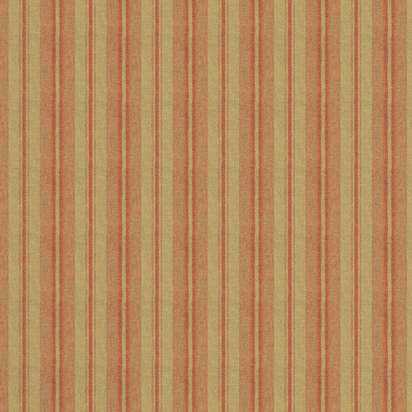 Fabric swatch of a luxury Scottish orange and neutral wool striped fabric suitable for curtains and upholstery