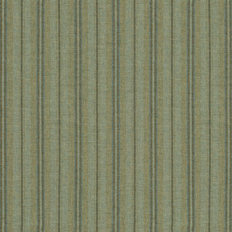 Fabric swatch of a luxury Scottish green wool striped fabric suitable for curtains and upholstery