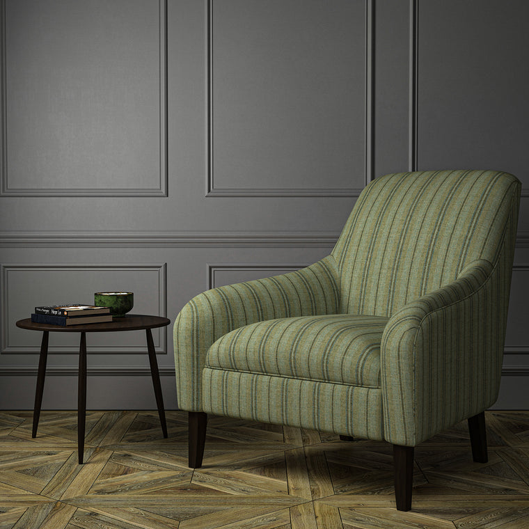 Chair upholstered in a luxury Scottish green wool striped upholstery fabric