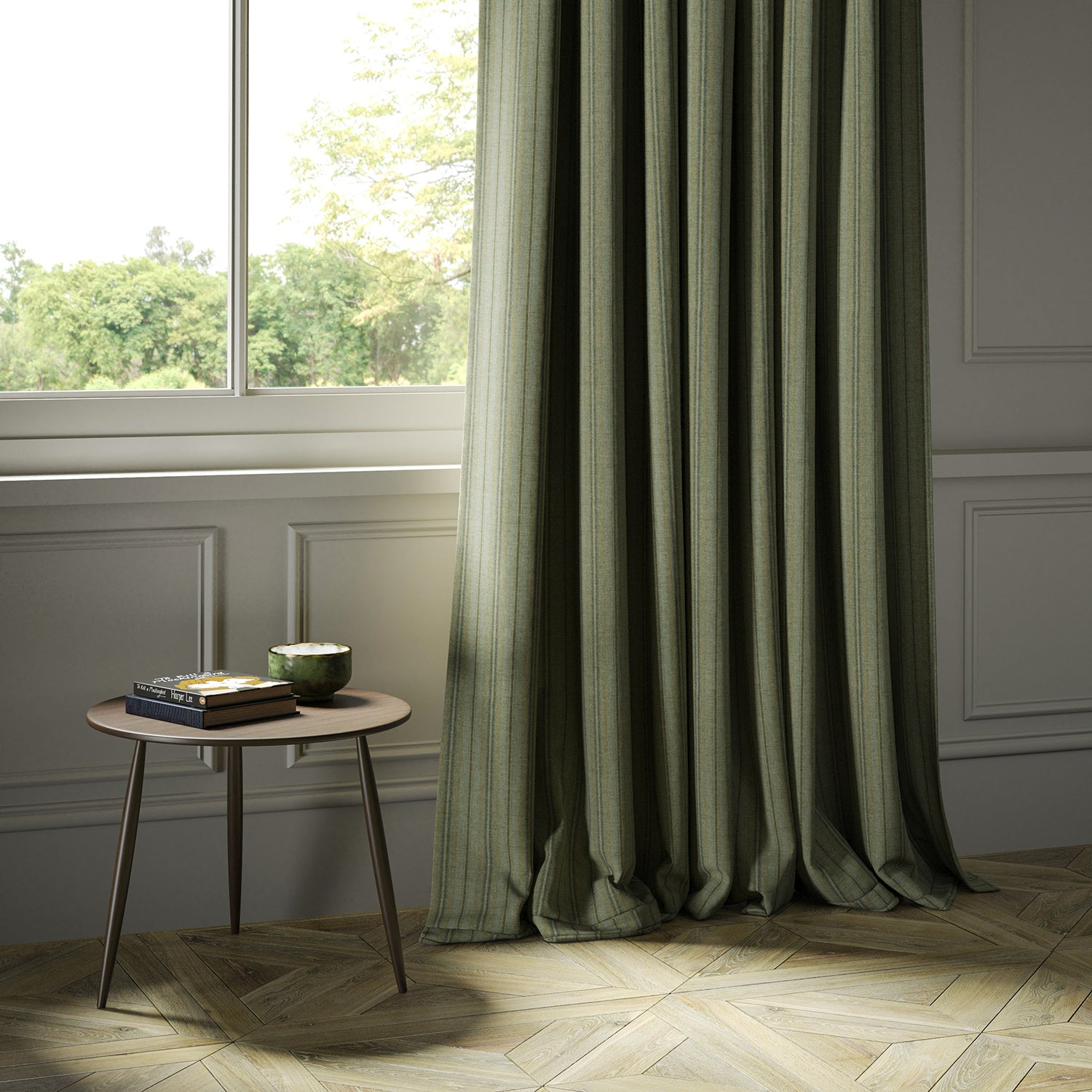 Curtains in a luxury Scottish green wool striped fabric