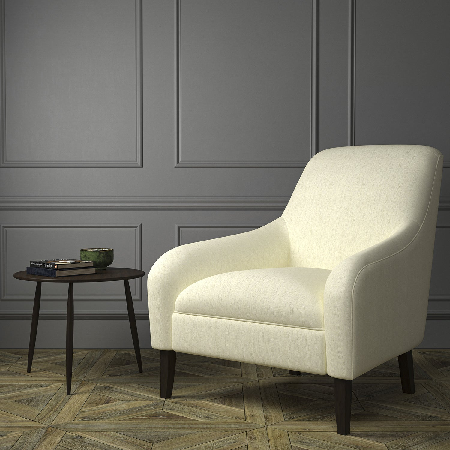 Chair upholstered in a luxury Scottish cream wool herringbone upholstery fabric