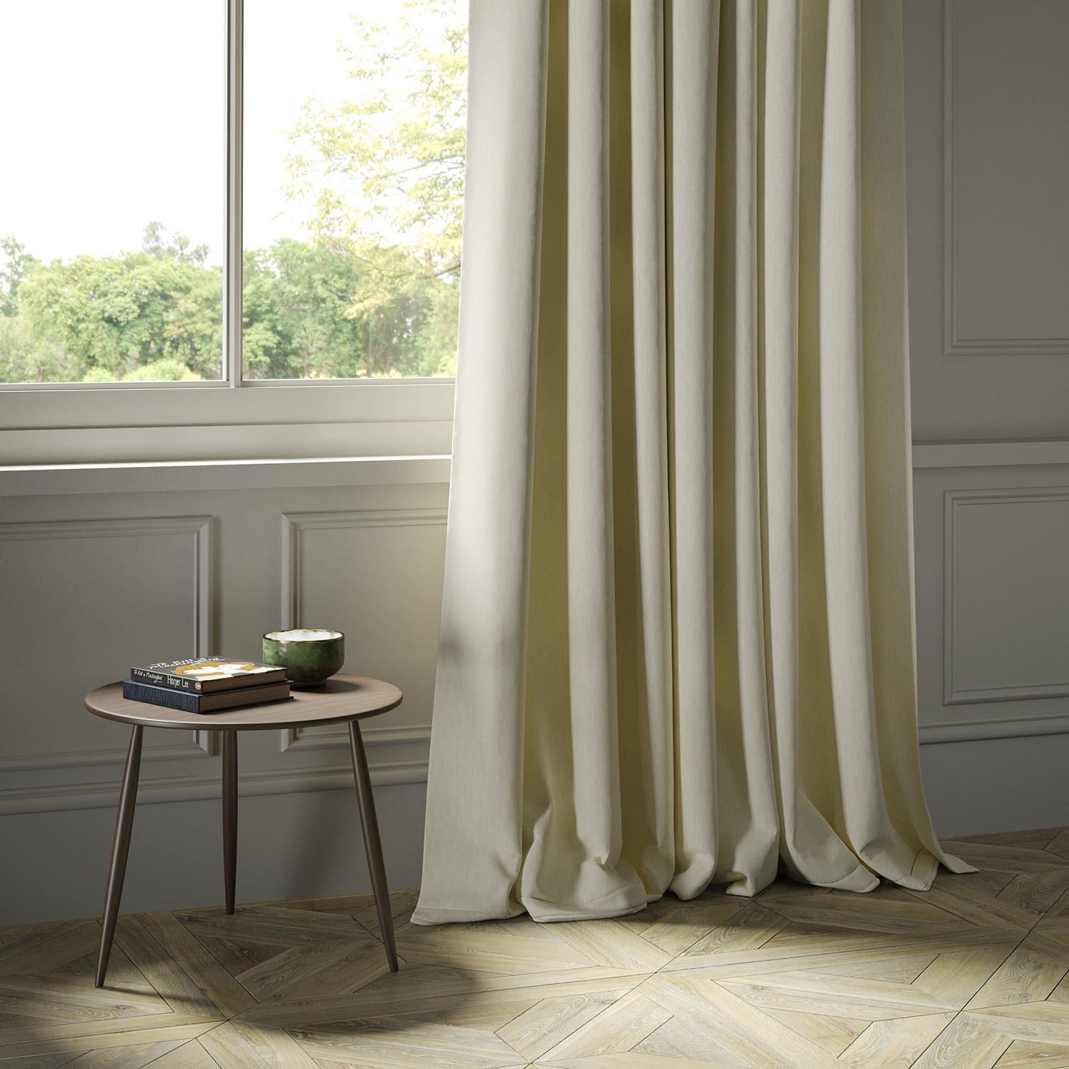 Curtains in a luxury Scottish cream wool herringbone fabric