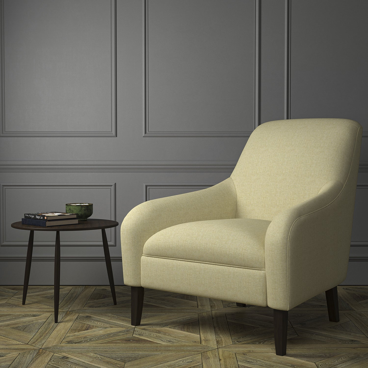 Chair upholstered in a luxury Scottish beige wool herringbone upholstery fabric