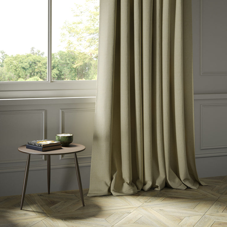 Curtains in a luxury Scottish beige wool herringbone fabric