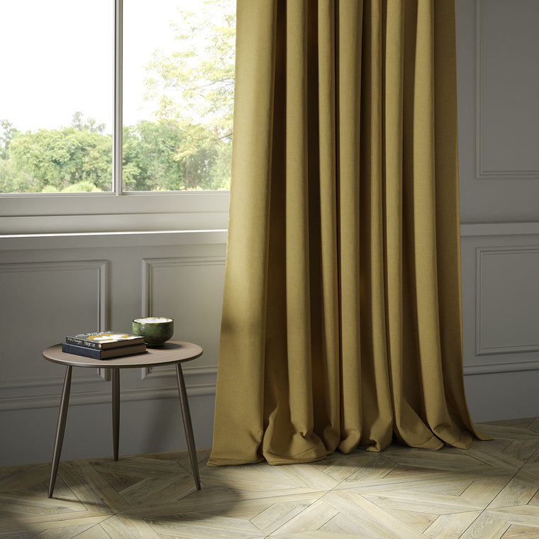 Curtains in a luxury Scottish yellow wool herringbone fabric