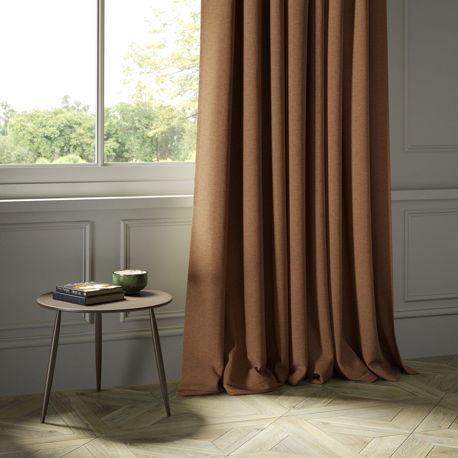 Curtains in a orange Scottish wool herringbone fabric