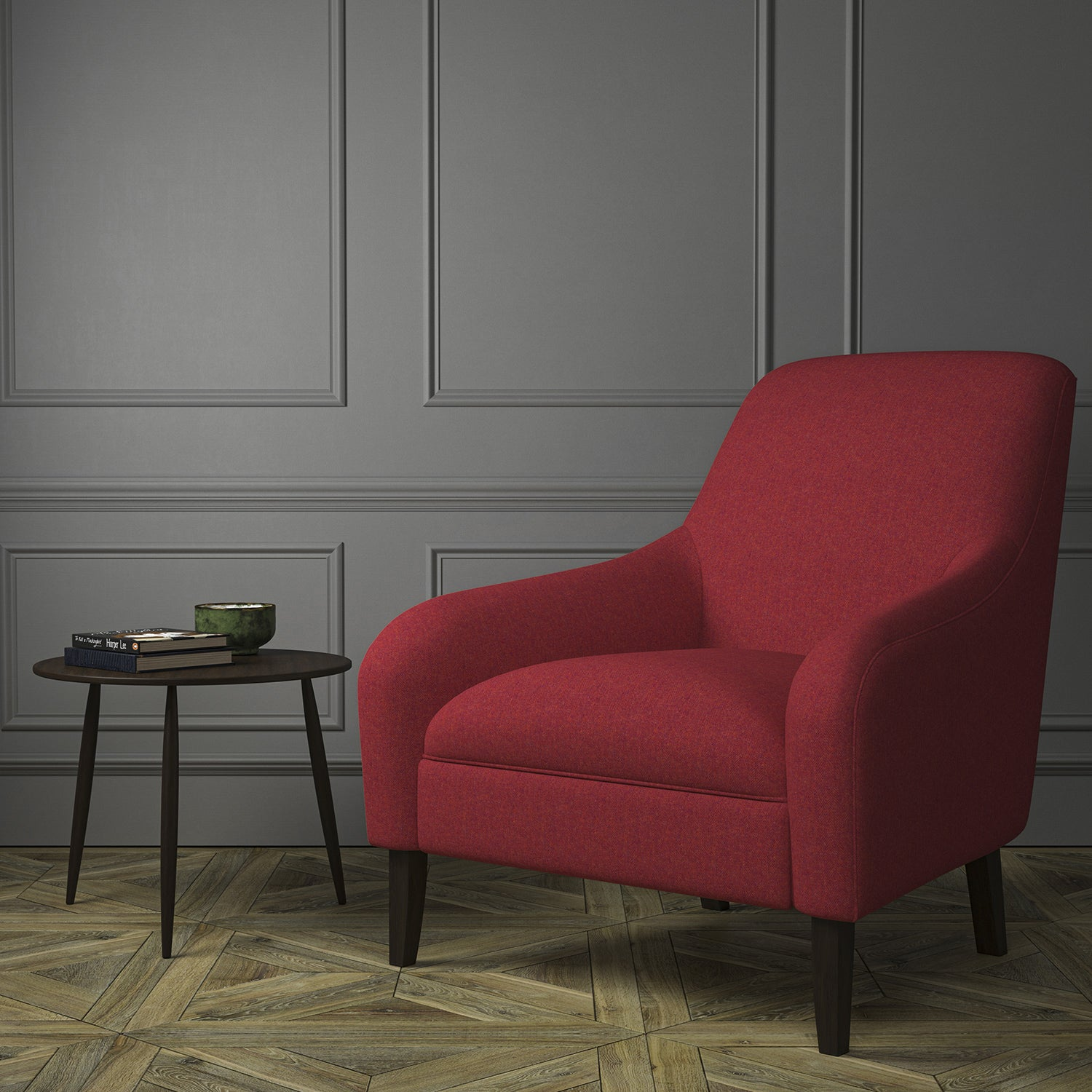 Chair upholstered in a red Scottish wool herringbone fabric