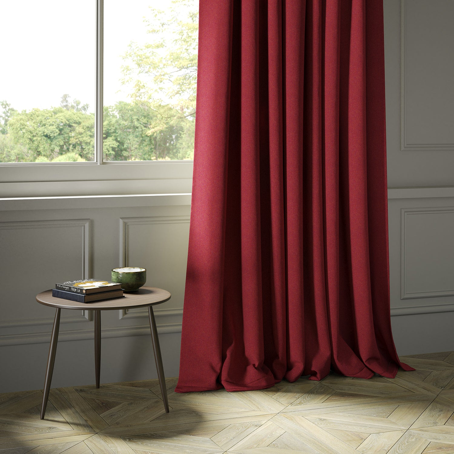 Curtains in a red Scottish wool herringbone fabric