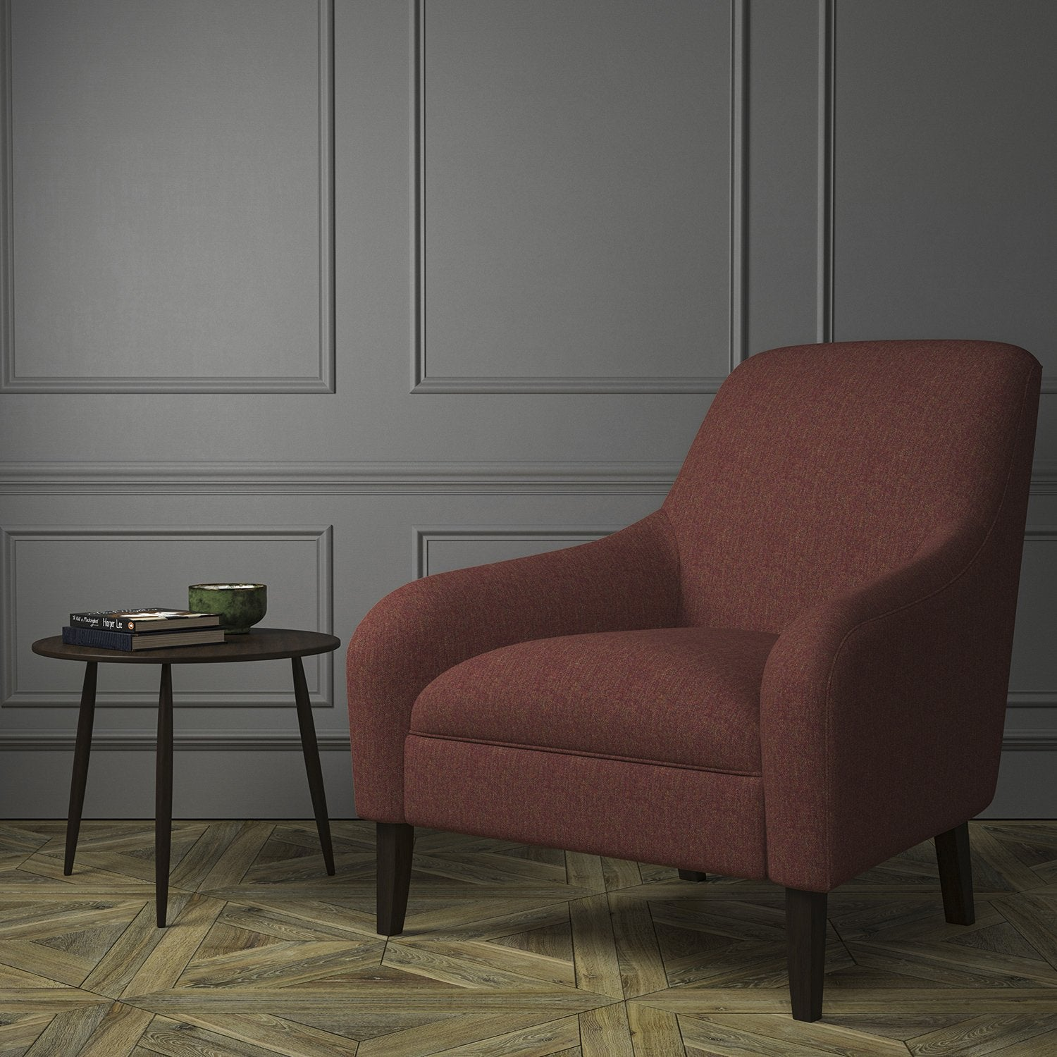 Chair upholstered in a dark red Scottish wool herringbone fabric