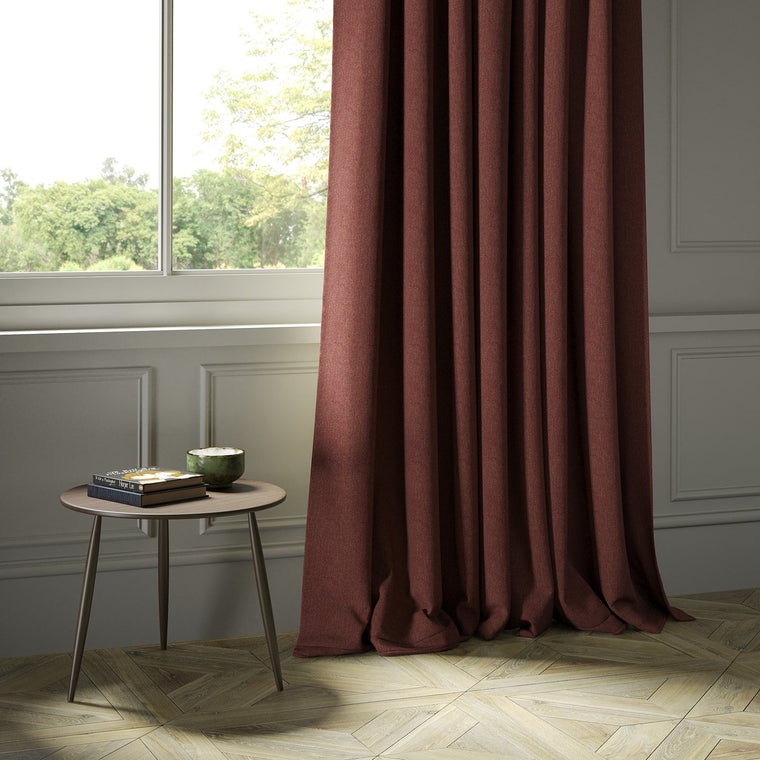 Curtains in a dark red Scottish wool herringbone fabric