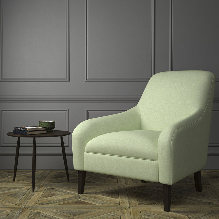 Chair upholstered in a mint Scottish wool herringbone fabric