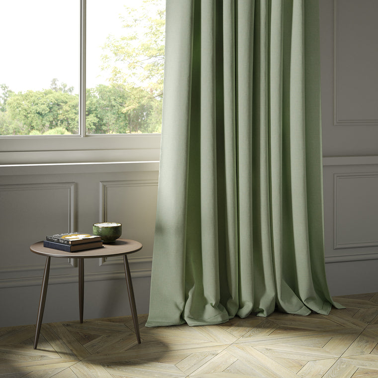 Curtains in a mint Scottish wool herringbone fabric