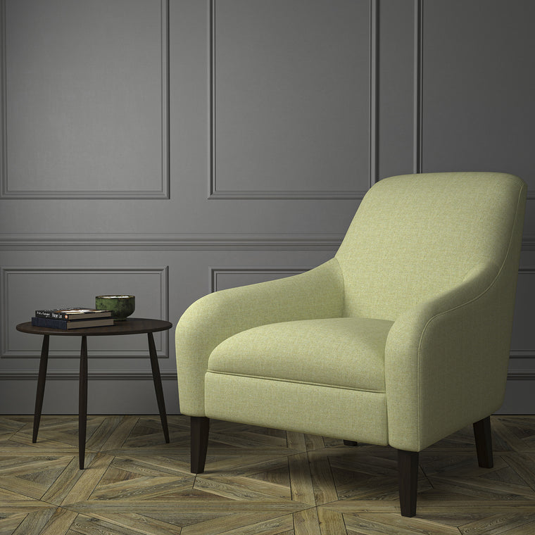 Chair upholstered in a green Scottish wool herringbone fabric