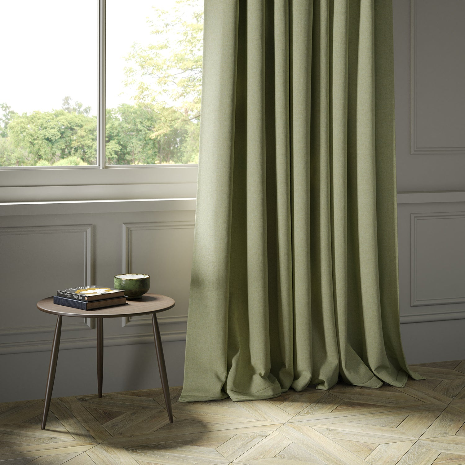 Curtains in a green Scottish wool herringbone fabric