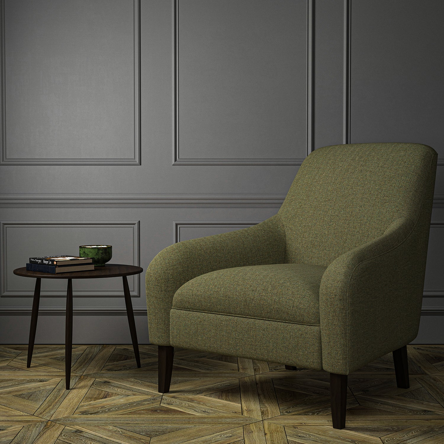 Chair upholstered in a khaki Scottish wool herringbone fabric