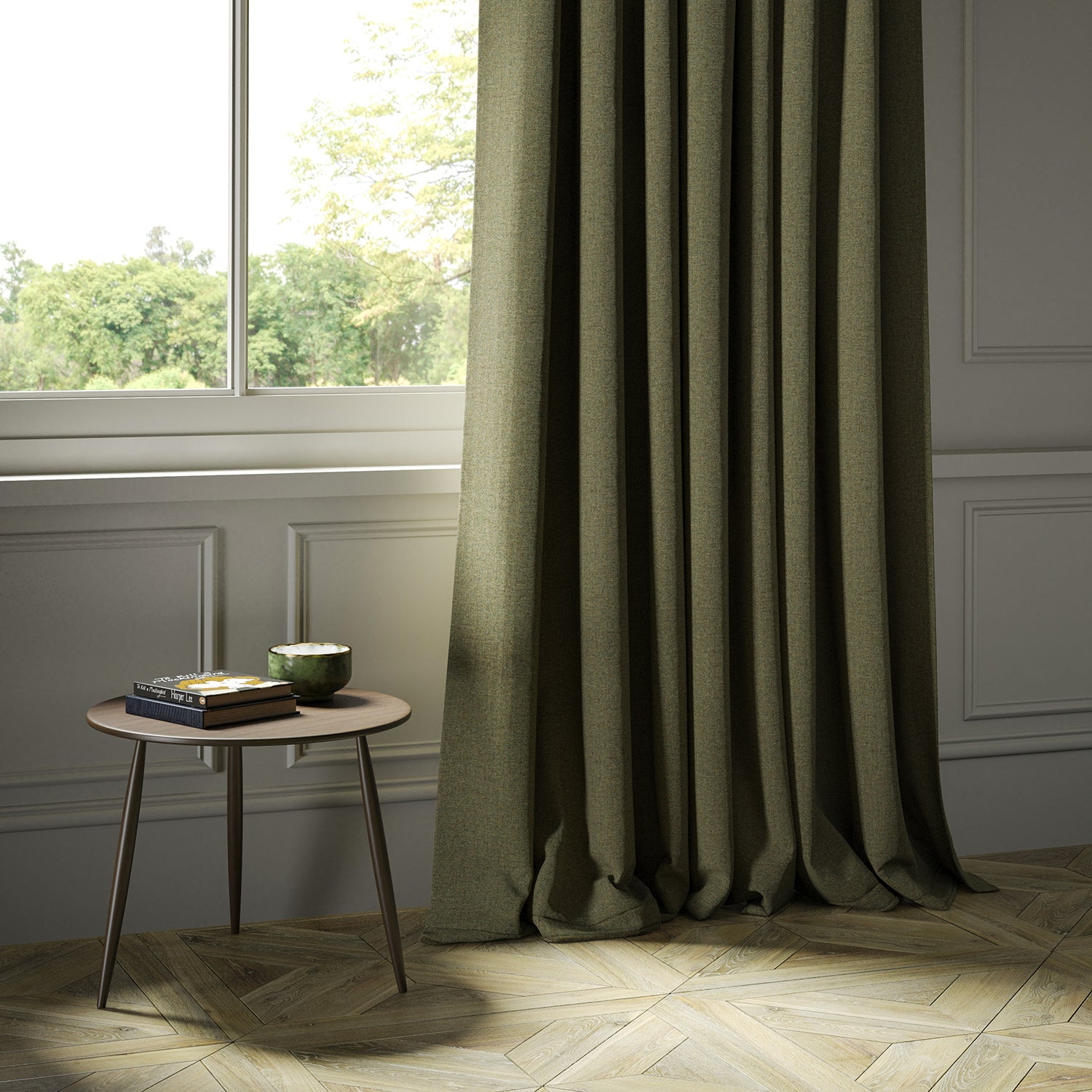Curtains in a khaki Scottish wool herringbone fabric