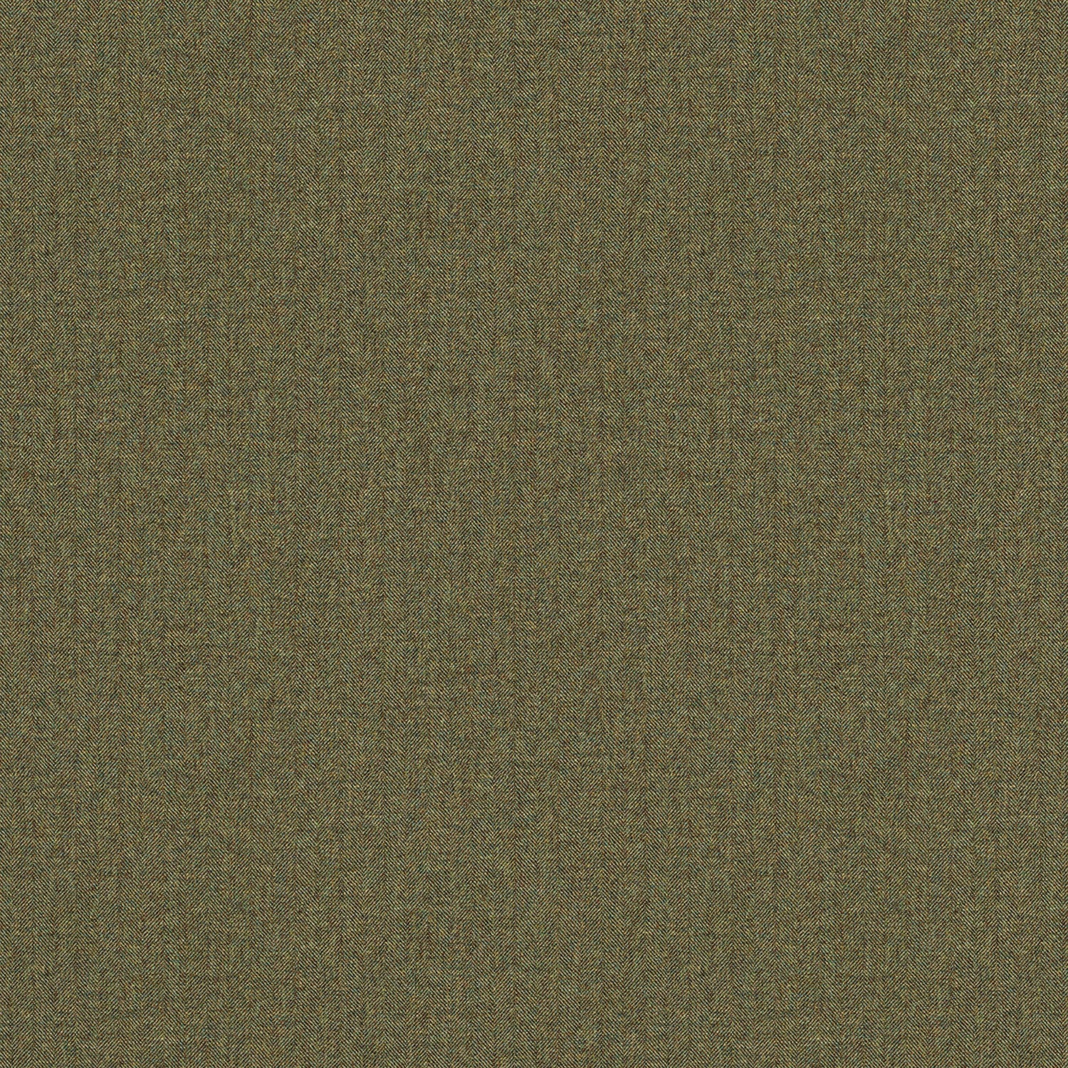 Fabric swatch of a khaki Scottish wool herringbone fabric for curtains and upholstery