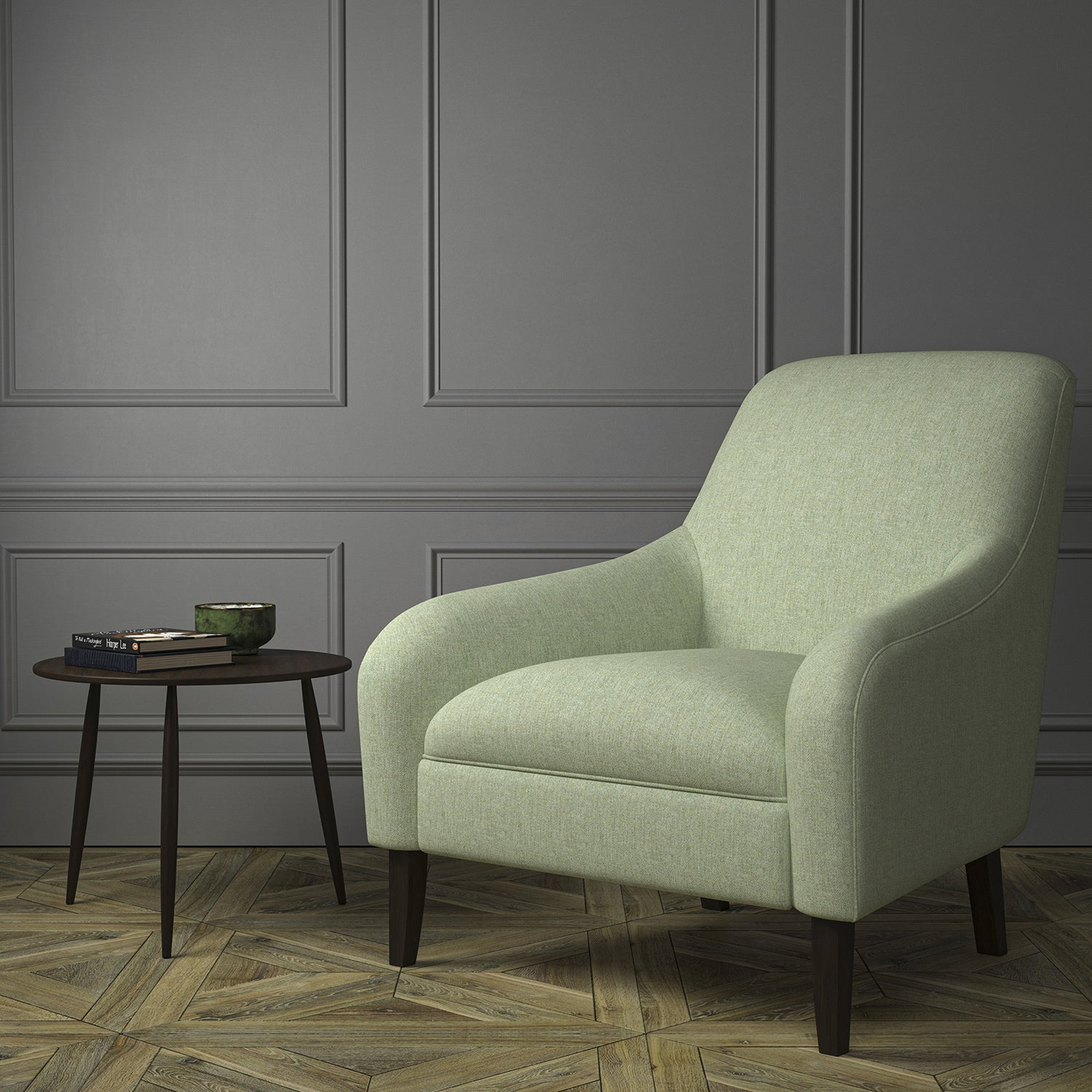 Chair upholstered in a light green Scottish wool herringbone fabric