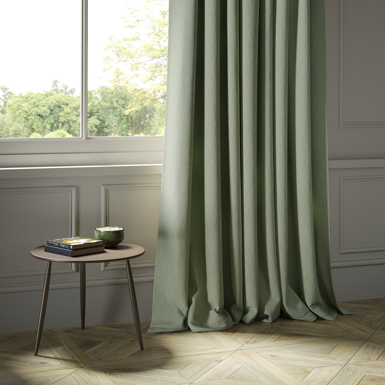 Curtains in a light green Scottish wool herringbone fabric