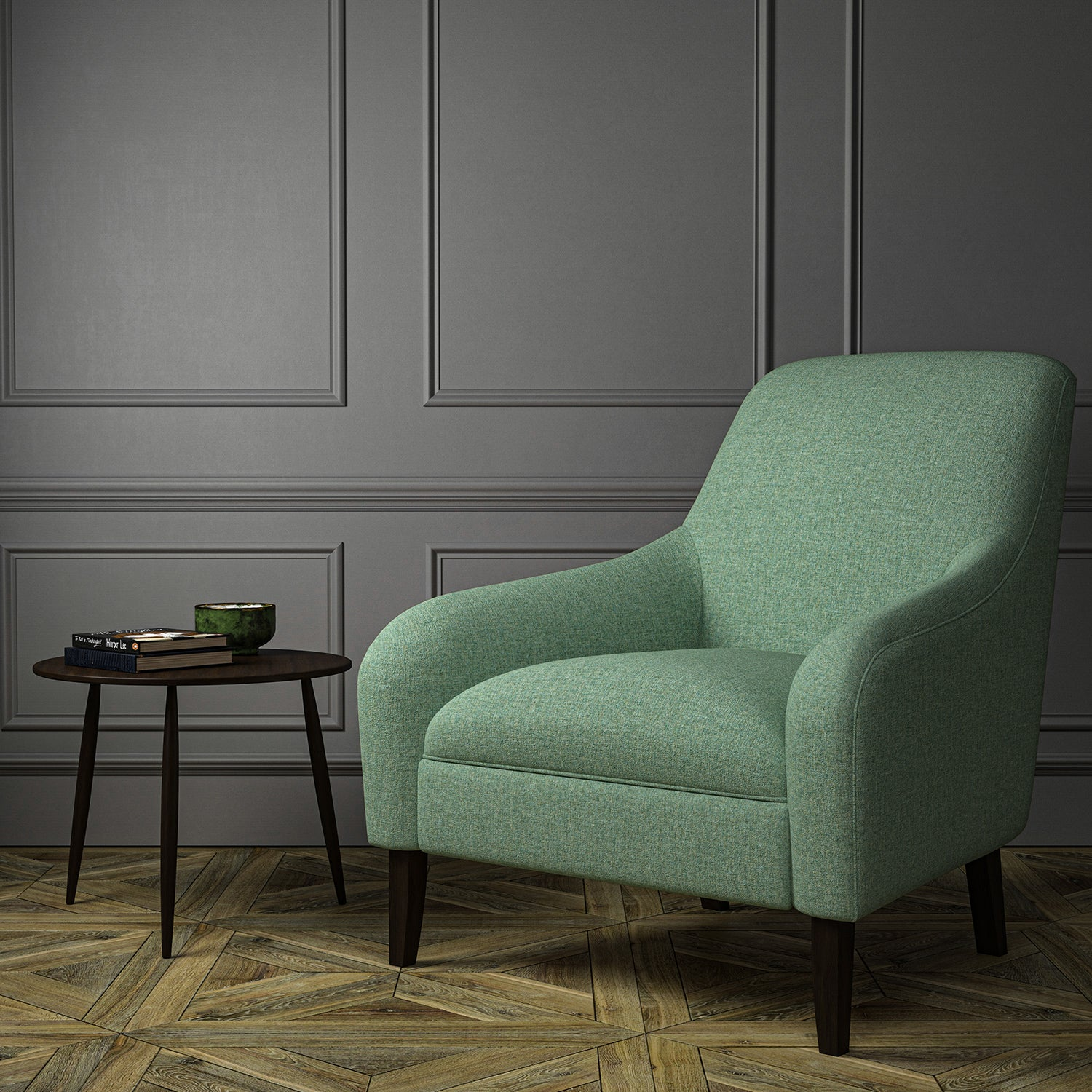 Chair upholstered in a turquoise Scottish wool herringbone fabric