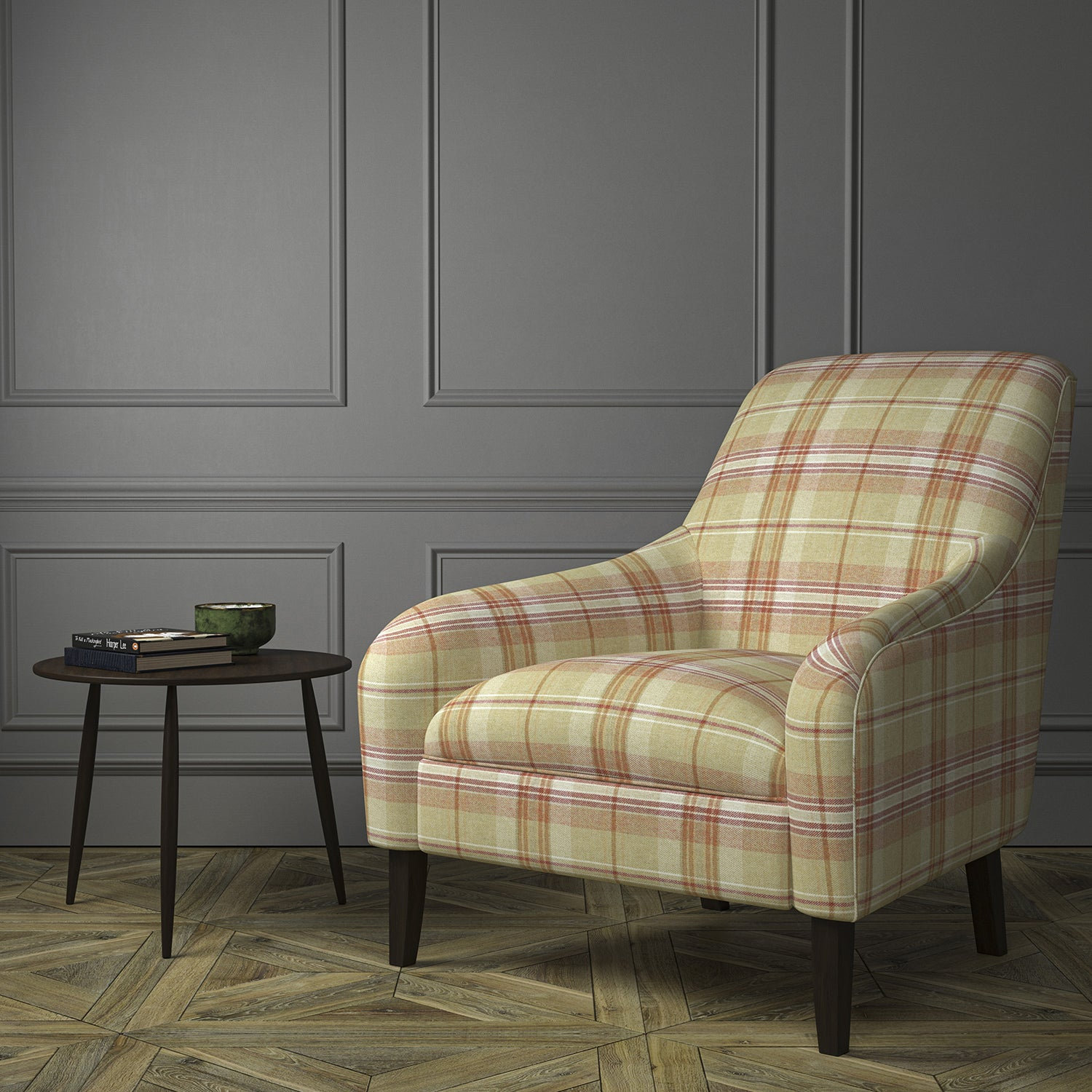 Chair upholstered in a beige and red Scottish wool plaid check fabric