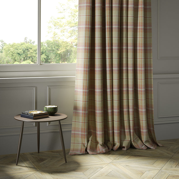 Curtains in a beige and red Scottish wool plaid check fabric