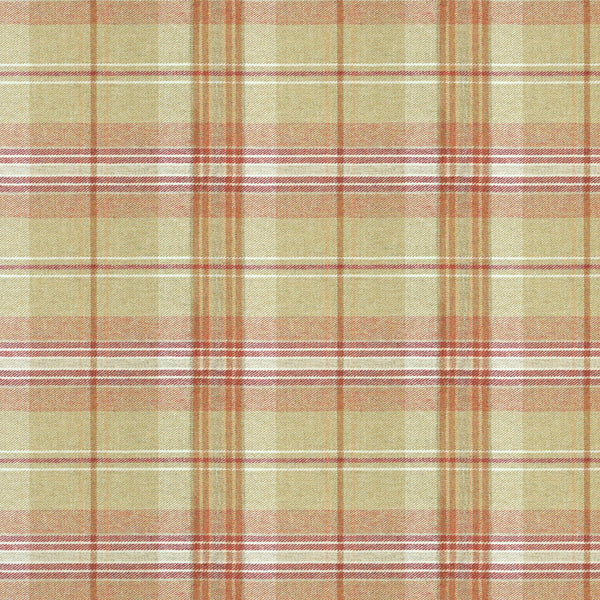 Fabric swatch of a beige and red Scottish wool plaid check fabric for curtains and upholstery