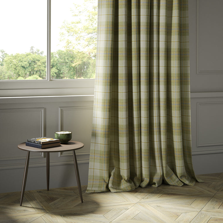Curtains in a cream and green Scottish wool plaid check fabric