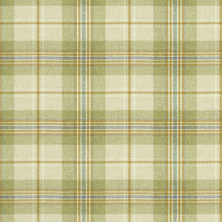 Fabric swatch of a cream and green  Scottish wool plaid check fabric for curtains and upholstery