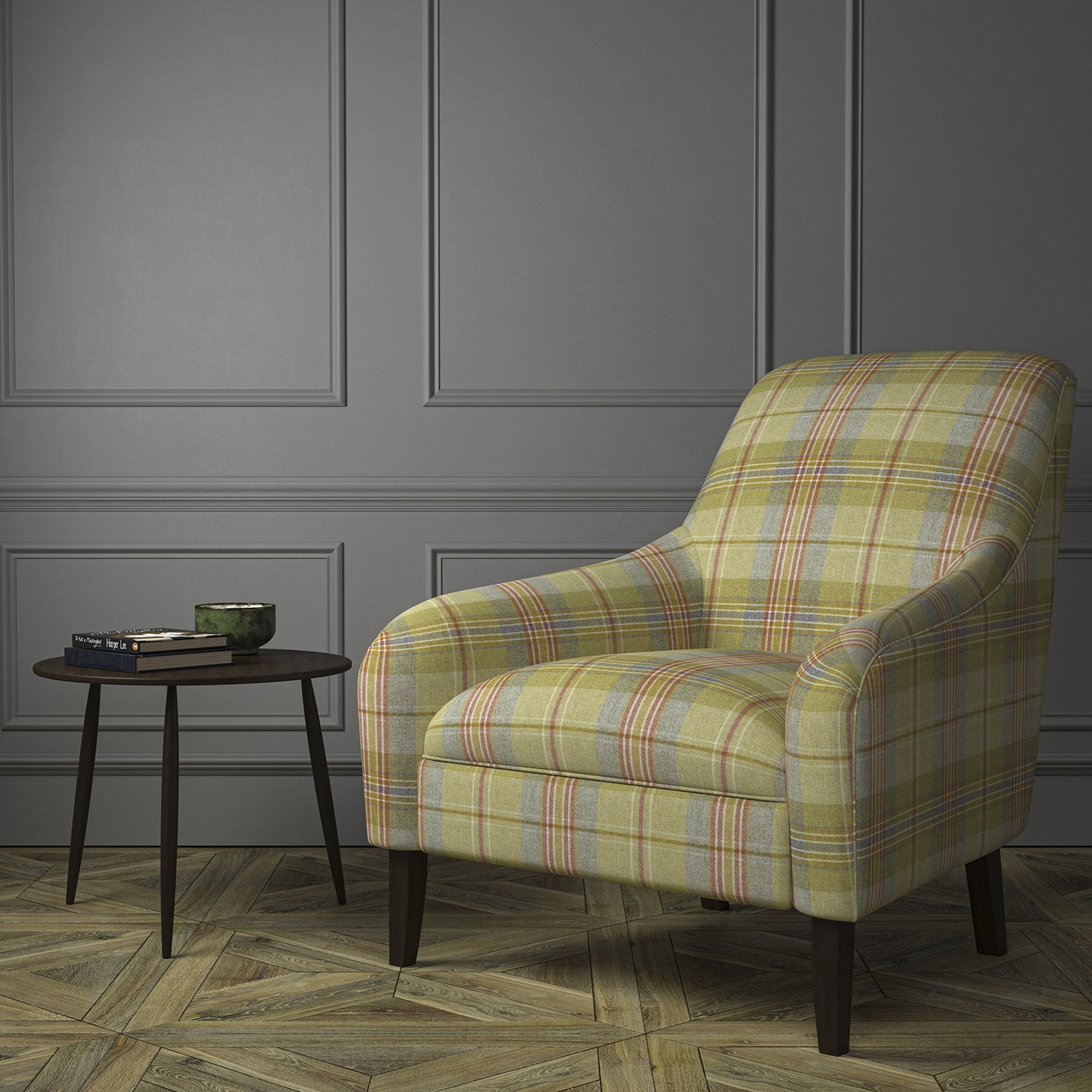 Chair upholstered in a green and red Scottish wool plaid check fabric